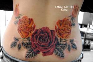 RED&ORANGE Rose Tattoo 赤とオレンジのバラのタトゥー/Keika_FanaticTattoo