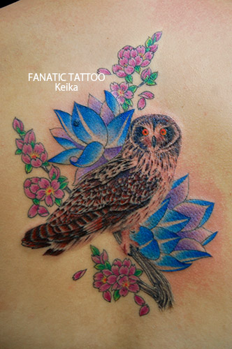 Owl&Lotus&Cherryblossom Tattoo フクロウと蓮と桜のタトゥー/Keika_FanaticTattoo