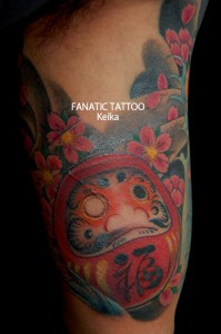 DARUMA&Cherryblossom Tattoo 達磨と桜の刺青/Keika_FanaticTattoo