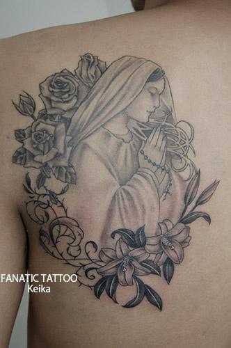 VirginMary&Rose,Lily Tattoo マリアとバラ、ユリのタトゥー/Keika_FanaticTattoo