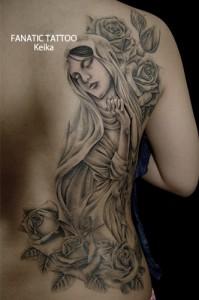 Virginmary&Rose Tattoo マリアとバラのタトゥー/Keika_FanaticTattoo