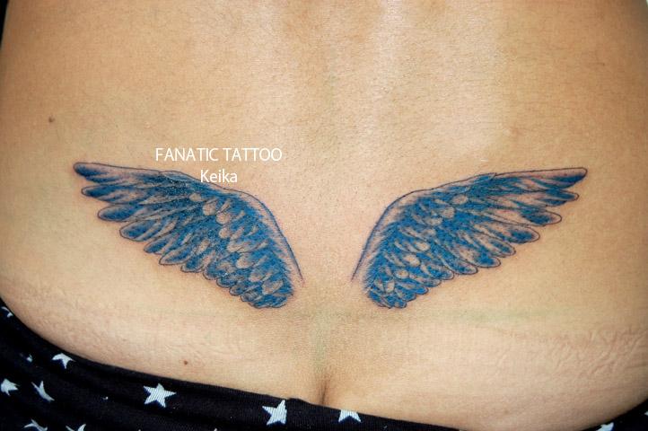 Blue Wing Tattoo 青い羽根の刺青/Keika_FanaticTattoo