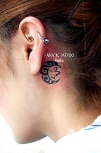 Moon&Butterfly Tattoo 蝶と月のワンポイントタトゥー/Keika_FanaticTattoo