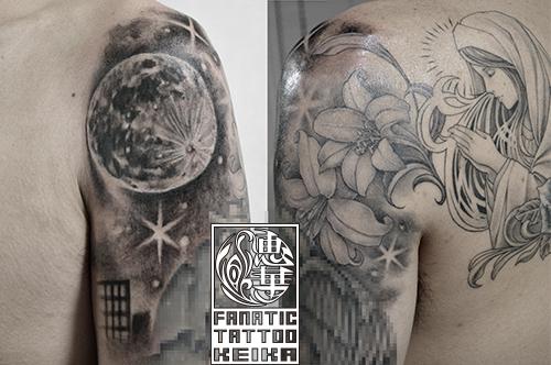 FullMoon&VirginMary&Lily Tattoo 満月とマリアとユリのタトゥー/Keika_FanaticTattoo