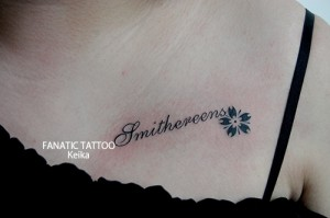 Word&Cherryblosssom Tattoo レターと桜のタトゥー/Keika_FanaticTattoo