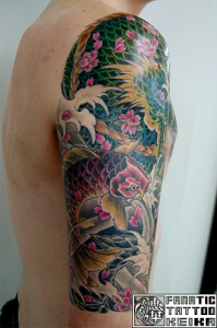 Dragon&Koi fish&Cherryblossom Japanese Tattoo 龍と恋に桜の刺青/Keika_FanaticTattoo