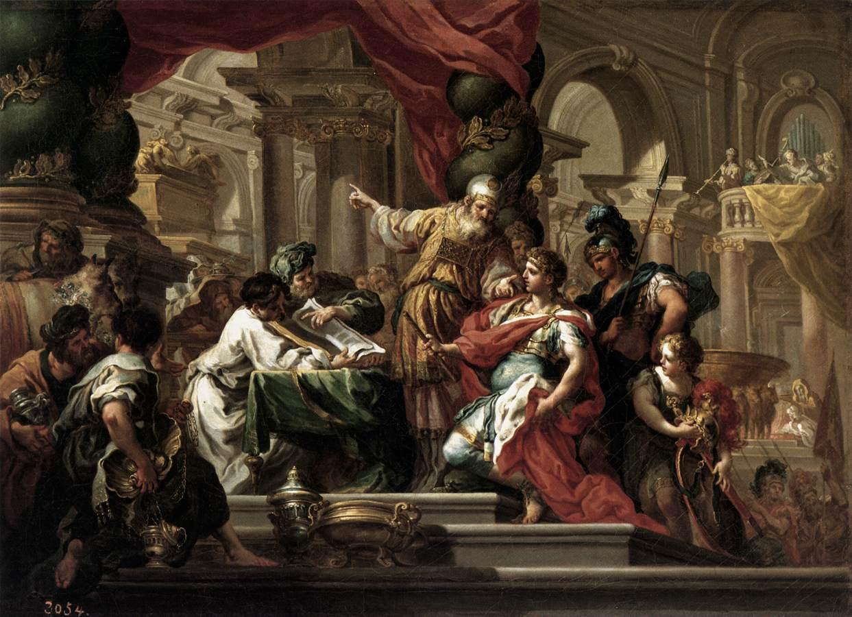 セバスティアーノ・コンカ  『エルサレムの神殿のアレクサンドロス大王』
