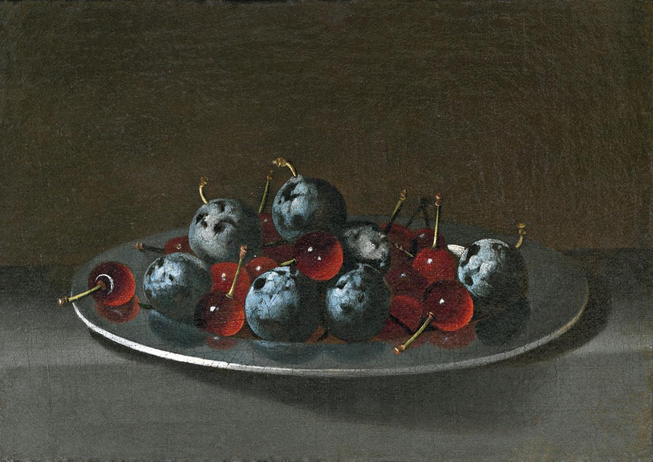 フアン・バン・デル・アメン  『スモモとサワーチェリーの載った皿』
