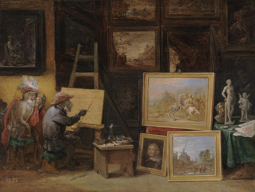 ダーフィット・テニールス  『猿の画家』  『猿の彫刻家』