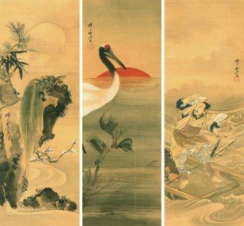 河鍋暁斎  浦島太郎に鶴と亀