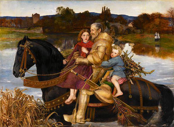 ジョン・エヴァレット・ミレイ ;いにしえの夢─浅瀬を渡るイサンブラス卿