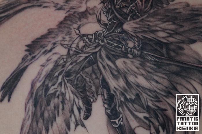 ルシファー・ゲーム・タトゥー・ブラック&グレー・天使 女性彫師 恵華-Keika-