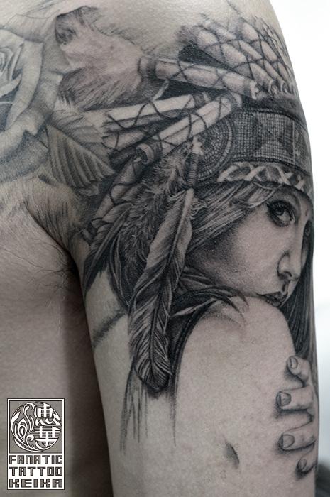 ブラック&グレー・女性・人物・インディアン・ネイティブアメリカン・腕・Black&Gray Tattoo_02