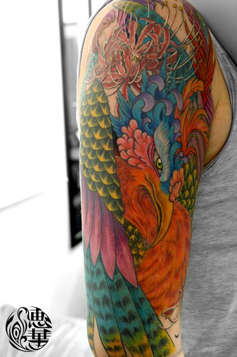 鳳凰・和彫り・カラー・腕・鳥・彼岸花・Phoenix・Japanesestyle tattoo・red spider lily_02