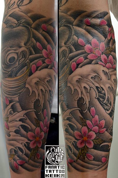 和彫り・鯉・桜・額彫り・腕・Japanesestyle tattoo・Koi・Cherryblossom_02