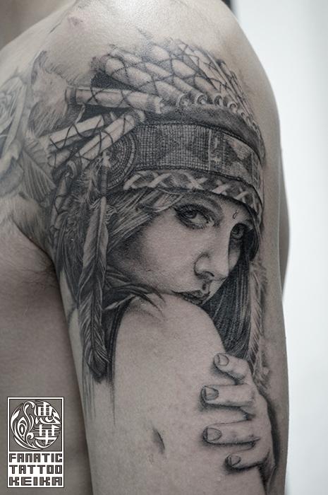 ブラック&グレー・女性・人物・インディアン・ネイティブアメリカン・腕・Black&Gray Tattoo_03