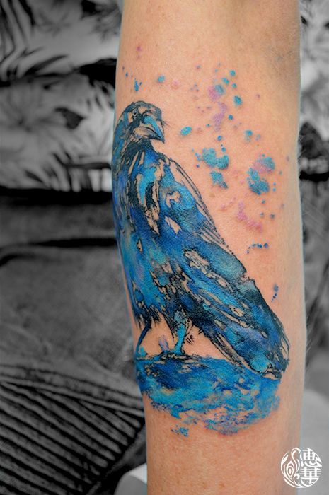水彩・カラス・鳥・カラー・Watercolor Tattoo・Bird・Raven_01