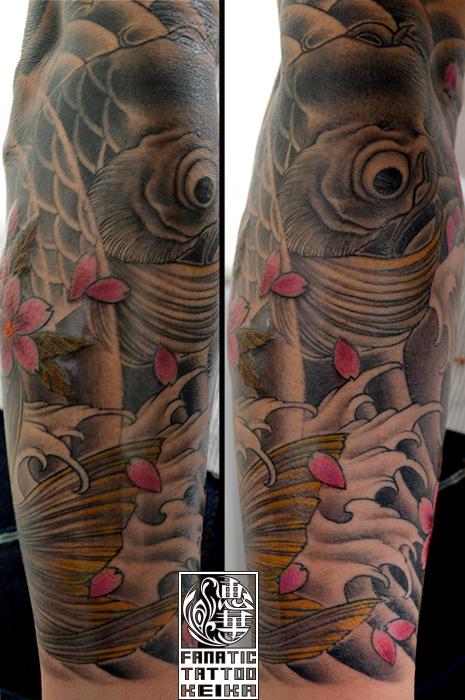 和彫り・鯉・桜・額彫り・腕・Japanesestyle tattoo・Koi・Cherryblossom_03