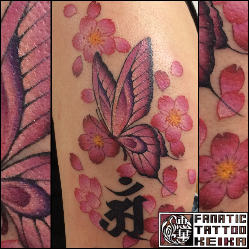 Butterfly&Cherryblossom Tattoo 蝶と桜のタトゥー Keika_FanaticTattoo