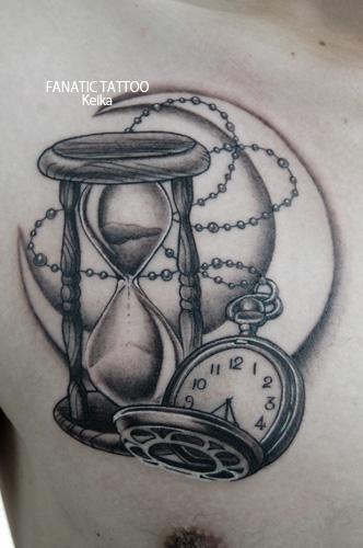 Sandglass,Pocket watch,Moon Tattoo 砂時計懐中時計月のタトゥー/Keika_FanaticTattoo