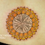 Sunflower Tattoo ひまわりトライバルのタトゥー/Keika_FanaticTattoo