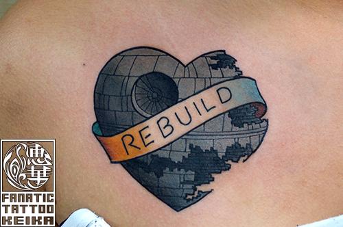 アメリカントラディショナル デススターのタトゥー American Traditional Death Star Tattoo /Keika_FanaticTattoo