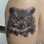 フクロウミミズクのリアルなタトゥー Horn owl Realistic Tattoo /Keika_FanaticTattoo