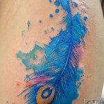 孔雀の羽の水彩タトゥー Peacock Feather Watercolor Tattoo Keika_FanaticTattoo
