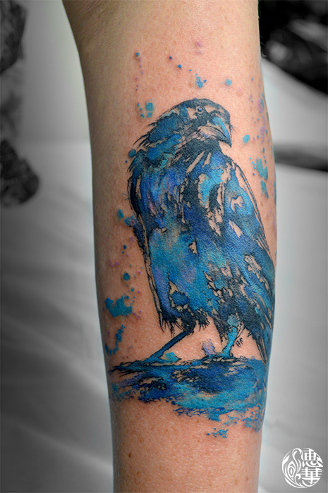 水彩・カラス・鳥・カラー・Watercolor Tattoo・Bird・Raven_02