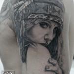 ブラック&グレー・女性・人物・インディアン・ネイティブアメリカン・腕・Black&Gray Tattoo_01
