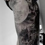 ブラック&グレー・風景画・廃墟・森・満月・足・Forest・Fullmoon・Black&Gray Tattoo