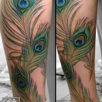 クジャク・羽・カラー・リアル・足・Peacock・Feather Tattoo