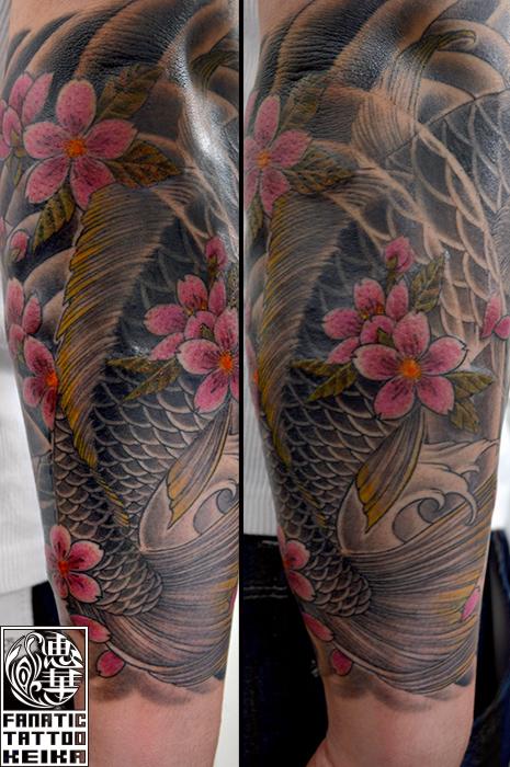 和彫り・鯉・桜・額彫り・腕・Japanesestyle tattoo・Koi・Cherryblossom_01