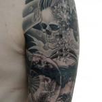 骸骨芸者の和彫り刺青 – Skull geisha JapaneseTattoo