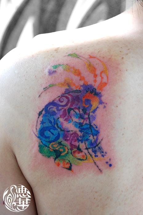ココペリの水彩タトゥー Kokopelli  Watercolor Tattoo,刺青・タトゥースタジオ 女性彫師 恵華-Keika-