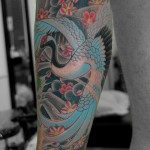 鶴亀、鯉に桜の和彫り刺青 – crane,turtle,koi fish,cherryblossom JapaneseTattoo