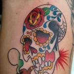 シュガースカルのアメリカントラディショナルタトゥーSugar Skull,American traditional TattooTattoo,刺青・タトゥースタジオ 女性彫師 恵華-Keika-