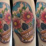 シュガースカルのタトゥー,Sugar Skull,Skull,Tattoo,刺青・タトゥースタジオ 女性彫師 恵華-Keika-