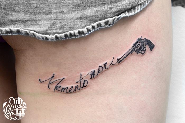 ピストルとレターのタトゥー,Letter,Tattoo,刺青・タトゥースタジオ 女性彫師 恵華-Keika-