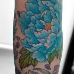 青い牡丹の和彫り刺青,Peony,Japanese,Tattoo,刺青・タトゥースタジオ 女性彫師 恵華-Keika-