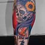 スカルな女性とトランプのタトゥー – Skull girl card Tattoo