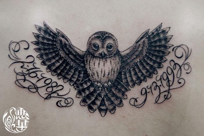 フクロウのブラック&グレータトゥー,Owl,Tattoo,刺青・タトゥースタジオ 女性彫師 恵華-Keika-