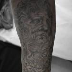 神ゼウスのブラック&グレータトゥー,Zeus,Black&Gray,Tattoo,刺青・タトゥースタジオ 女性彫師 恵華-Keika-