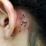 耳裏音符のワンポイントタトゥー,note,Tattoo,刺青・タトゥースタジオ 女性彫師 恵華-Keika-