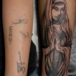 カバーアップマリアのブラック&グレータトゥー,Virgin Mary,Black&Gray Tattoo,刺青・タトゥースタジオ 女性彫師 恵華-Keika-