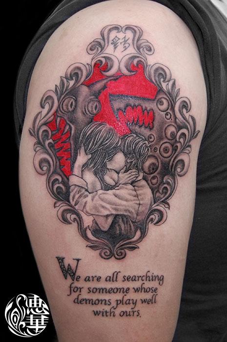カップルモンスターのタトゥー,Monster,Black&Gray Tattoo,刺青・タトゥースタジオ 女性彫師 恵華-Keika-