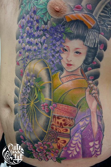 藤娘,芸者の和彫り刺青,Geisha,Japanese Tattoo,刺青・タトゥースタジオ 女性彫師 恵華-Keika-