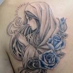 マリアとバラのタトゥー,Virgin Mary,Rose,Tattoo,刺青・タトゥースタジオ 女性彫師 恵華-Keika-
