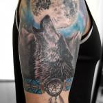 オオカミに月のタトゥー,Wolf,Moon,Tattoo,刺青・タトゥースタジオ 女性彫師 恵華-Keika-