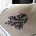 ミミズクフクロウのタトゥー,Horn Owl,Black&Gray,Tattoo,刺青・タトゥースタジオ 女性彫師 恵華-Keika-